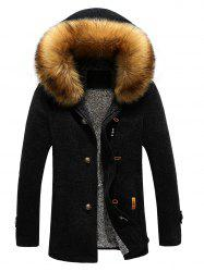 Patch Design Zip-Up Fur Hooded Jacket - BLACK