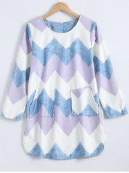 Colorful Zigzag Front Pockets Embellished Dress