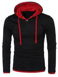 Hooded Color Splicing Long Sleeve Hoodie - RED WITH BLACK L