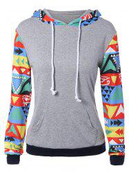 Colorful Geometric Print Pocket Embellished String Hoodie