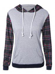 Plaid Pocket Embellished String Hoodie