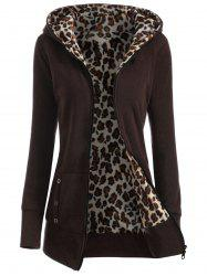 Zipper Fly Thicken Leopard Pattern Brown Hoodie