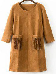 Three Quarter Sleeve Fringed Pockets Faux Suede Mini Dress