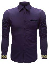 Embroidered Cuff Breast Pocket Button Up Shirt -