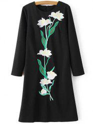 Floral Embroidered Long Sleeve Sheath Dress - BLACK XL