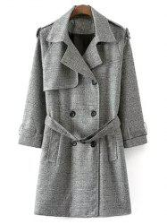 Belted Double-Breasted Houndstooth Walker Coat - WHITE AND BLACK