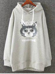 Cartoon Cat Print Fleece Plus Size Hoodie -