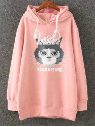 Cartoon Cat Print Fleece Plus Size Pink Hoodie - PINK