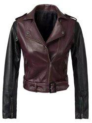 Color Block PU Leather Biker Jacket - WINE RED