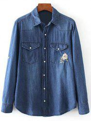 Floral Embroidered and Denim Pocket Cowboy Shirt - BLUE L