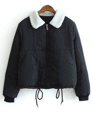 Lamb Wool Collar Drawstring Short Padded Coat