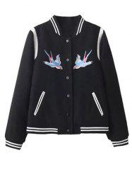 Embroidered Snap Closure Baseball Jacket - BLACK L