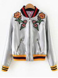 Floral Embroidered Faux Leather Bomber Jacket -