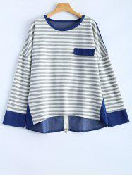 Back Zipper Stripe Spliced Blouse