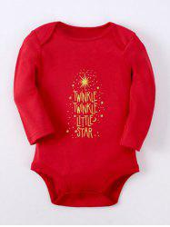 Kids Long Sleeve Letter Baby Romper - RED