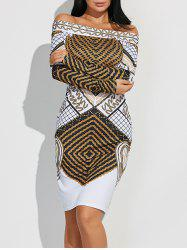 Off Shoulder Geometric Bodycon Dress with Long Sleeves - WHITE