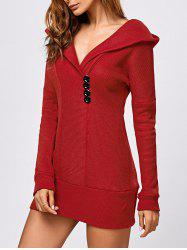 Tunic Hooded Knitwear with Button - RED