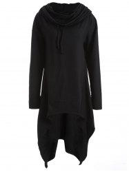 Asymmetrical Pocket Design Loose-Fitting Neck Hoodie - BLACK