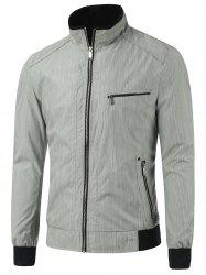 Stand Collar Zipper Pocket Rib Spliced Jacket - GRAY