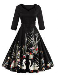Vintage Print Belted Flare High Waist Dress - BLACK