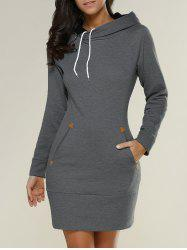 Tight Short Long Sleeve Long Hoodie Mini Dress - DEEP GRAY