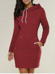 Tight Short Long Sleeve Long Hoodie Mini Dress - RED