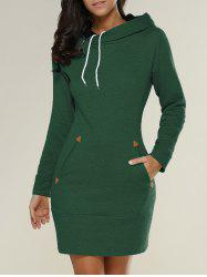 Tight Short Long Sleeve Long Hoodie Mini Dress - GREEN