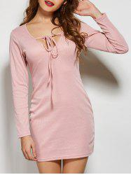 Front Tie Long Sleeve Bodycon Casual Dress -