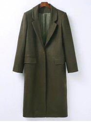 Lapel Flap Pockets Maxi Long Wool Blend Coat - ARMY GREEN