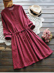 Long Sleeve Tiny Floral Shirt Dress -