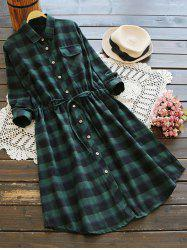 Button Up Plaid Pocket A Line Shirt Dress - BLACK AND GREEN