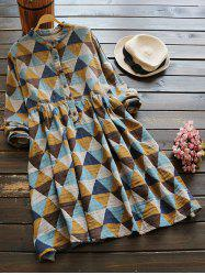 Buttoned Long Sleeve Geometric Smock Checked Shirt Dress