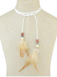 Boho Feather Tie Choker Necklace -