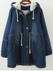 Hooded Lamb Denim Coat -