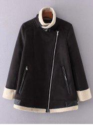 Faux Suede Fleece A Lined Winter Coat -