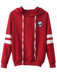 Striped Alien Embroidered Hoodie - RED XL