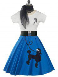 Retro Poodle Print High Waist Skater Dress