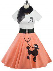 Retro Poodle Print High Waist Skater Dress - ORANGEPINK