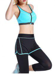 Front Close Zipper Sporty Bra - AZURE
