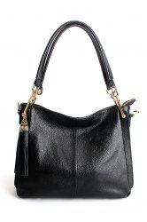 Leather Double Tassels Shoulder Bag -