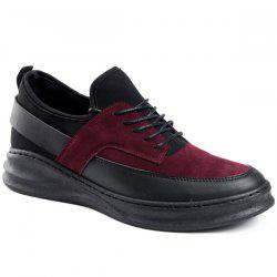 PU Leather Tie Up Casual Shoes -
