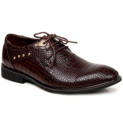 Metal Embossed Tie Up Formal Shoes -