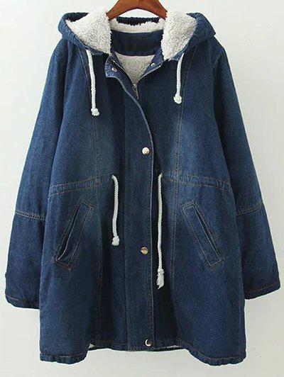 Shop Hooded Lamb Denim Coat