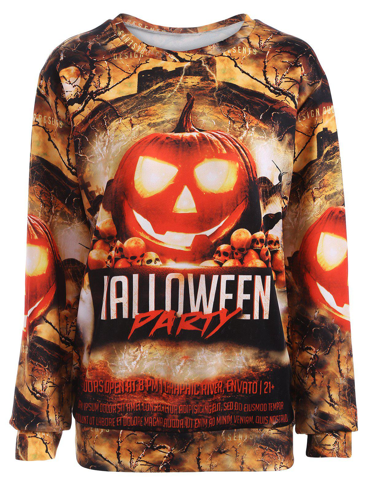 Shop Pumpkin 3D Scenery Print Halloween Sweatshirt