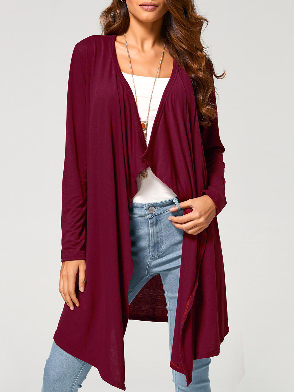 Long Duster Draped CardiganWOMEN<br><br>Size: L; Color: WINE RED; Type: Cardigans; Material: Polyester; Sleeve Length: Full; Collar: Collarless; Style: Casual; Pattern Type: Solid; Season: Fall; Weight: 0.370kg; Package Contents: 1 x Cardigan;