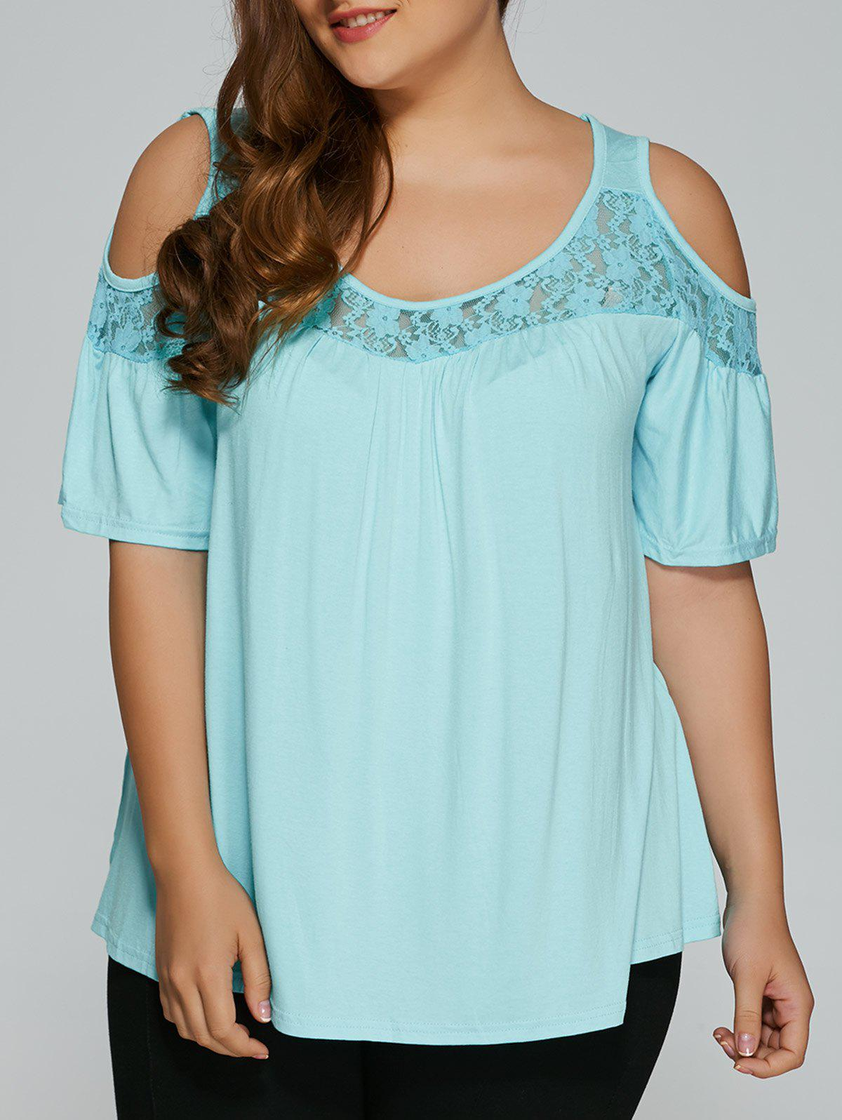 Plus Size Lace Insert Cut Out T-ShirtWOMEN<br><br>Size: 3XL; Color: LIGHT BLUE; Material: Lace,Polyester; Shirt Length: Regular; Sleeve Length: Short; Collar: Scoop Neck; Style: Fashion; Season: Summer; Pattern Type: Patchwork; Weight: 0.202kg; Package Contents: 1 x T-Shirt;