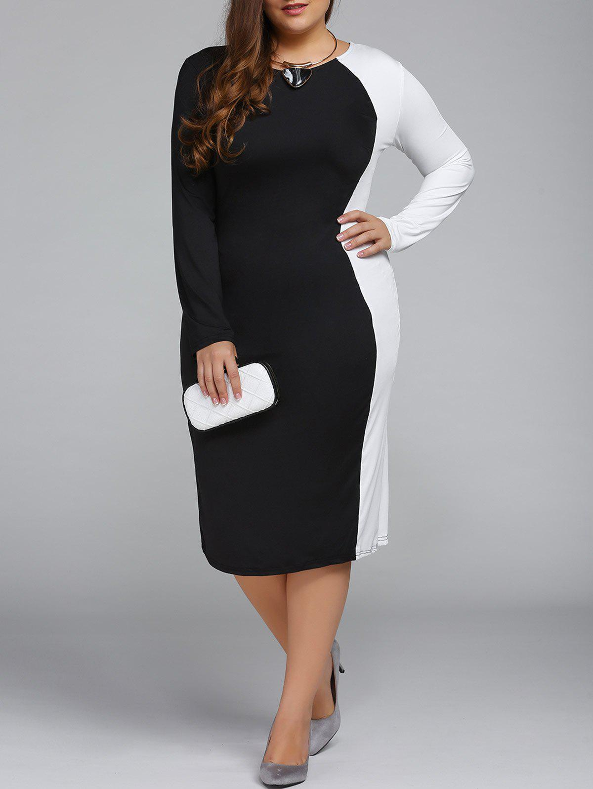 Plus Size Color Block Long Sleeve Sheath Modest Work DressWOMEN<br><br>Size: 5XL; Color: BLACK; Style: Brief; Material: Cotton Blend; Silhouette: Sheath; Dresses Length: Knee-Length; Neckline: Round Collar; Sleeve Length: Long Sleeves; Pattern Type: Patchwork; Elasticity: Elastic; With Belt: No; Season: Fall,Spring; Weight: 0.309kg; Package Contents: 1 x Dress;