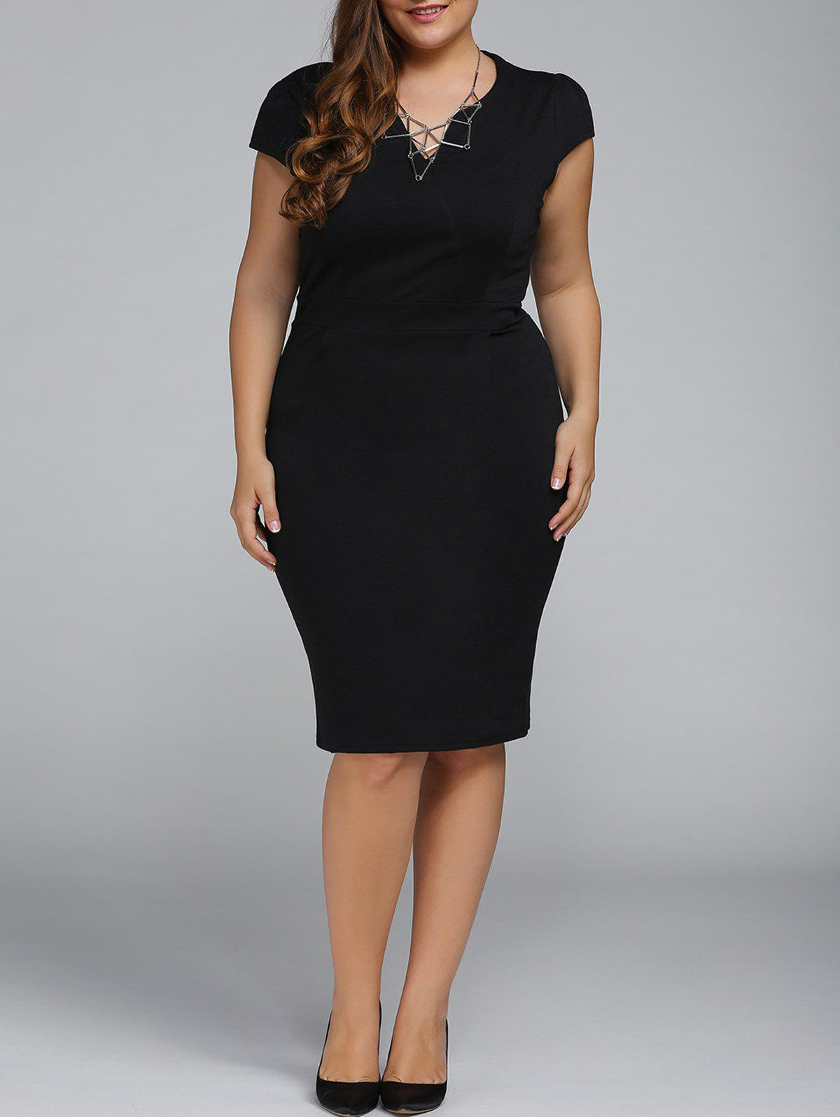 Plus Size Cap Sleeve Sheath Work Christmas Party DressWOMEN<br><br>Size: 2XL; Color: BLACK; Style: Work; Material: Cotton Blend; Silhouette: Sheath; Dresses Length: Knee-Length; Neckline: V-Neck; Sleeve Length: Short Sleeves; Pattern Type: Solid; Elasticity: Elastic; With Belt: No; Season: Fall,Spring,Summer; Weight: 0.331kg; Package Contents: 1 x Dress;