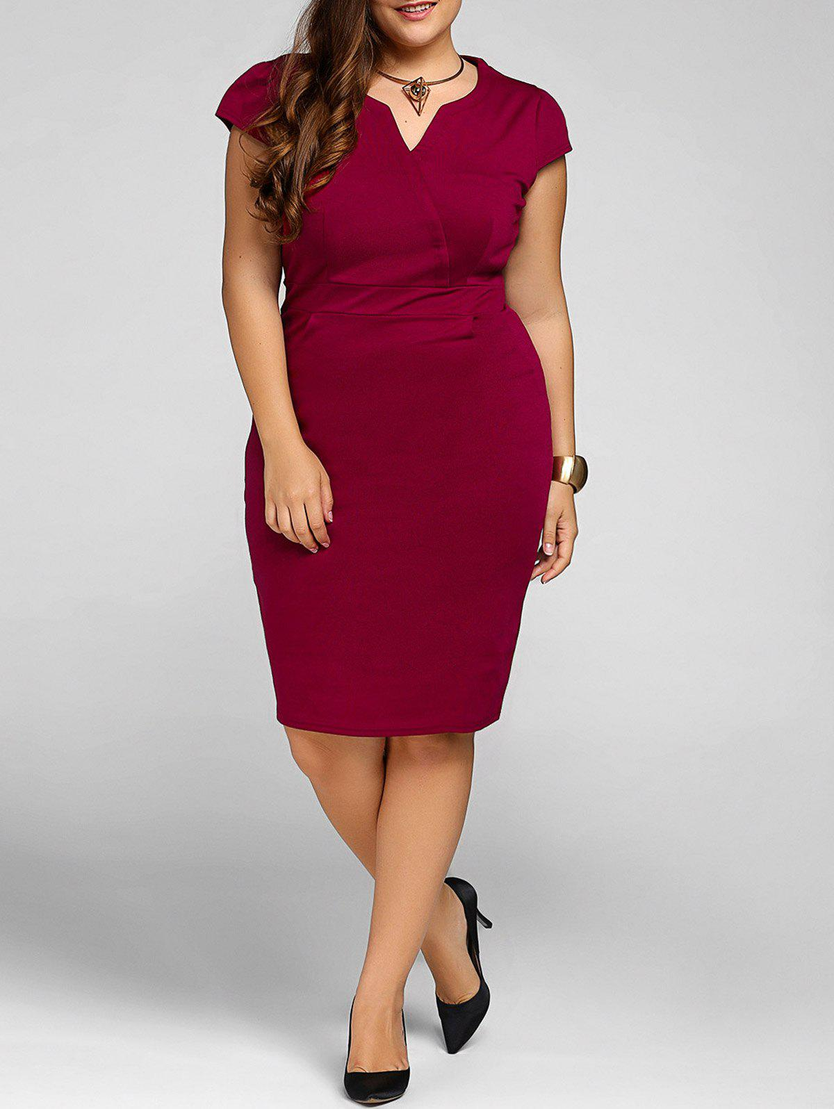 2018 Plus Size Cap Sleeve Sheath Work Christmas Party Dress In Wine ...