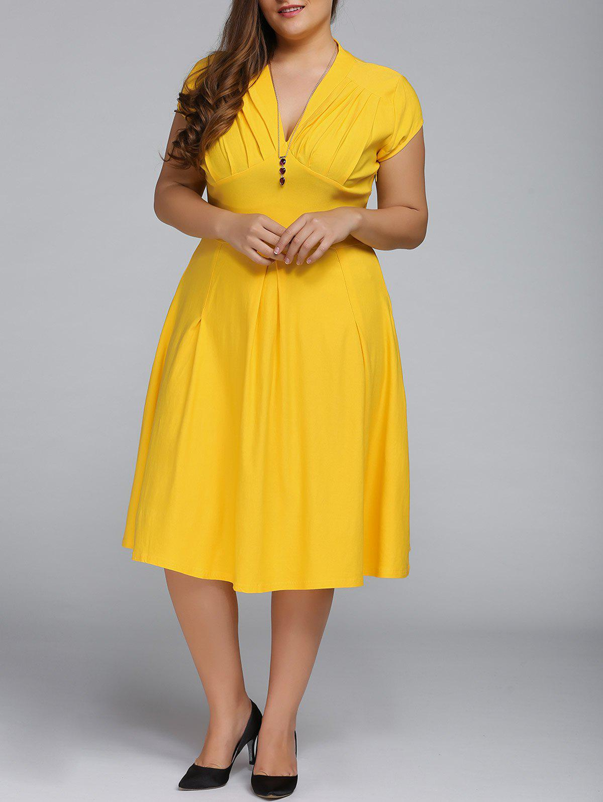 V Neck Plus Size A Line Party DressWOMEN<br><br>Size: XL; Color: YELLOW; Style: Vintage; Material: Cotton Blend; Silhouette: A-Line; Dresses Length: Knee-Length; Neckline: V-Neck; Sleeve Length: Short Sleeves; Waist: Empire; Embellishment: Pleated; Pattern Type: Solid; Elasticity: Elastic; With Belt: No; Season: Fall,Spring,Summer; Weight: 0.478kg; Package Contents: 1 x Dress;